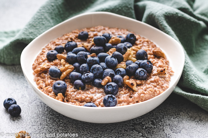 Blueberries and toasted walnuts with steel cut oats.