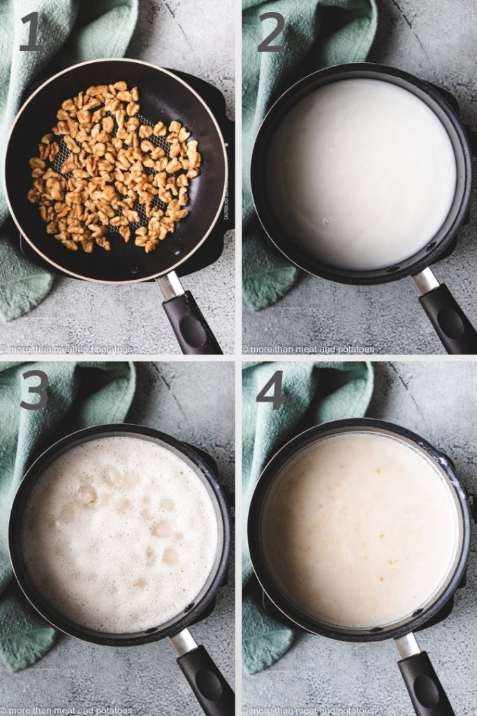 Collage style photo showing how to make steel cut oats.