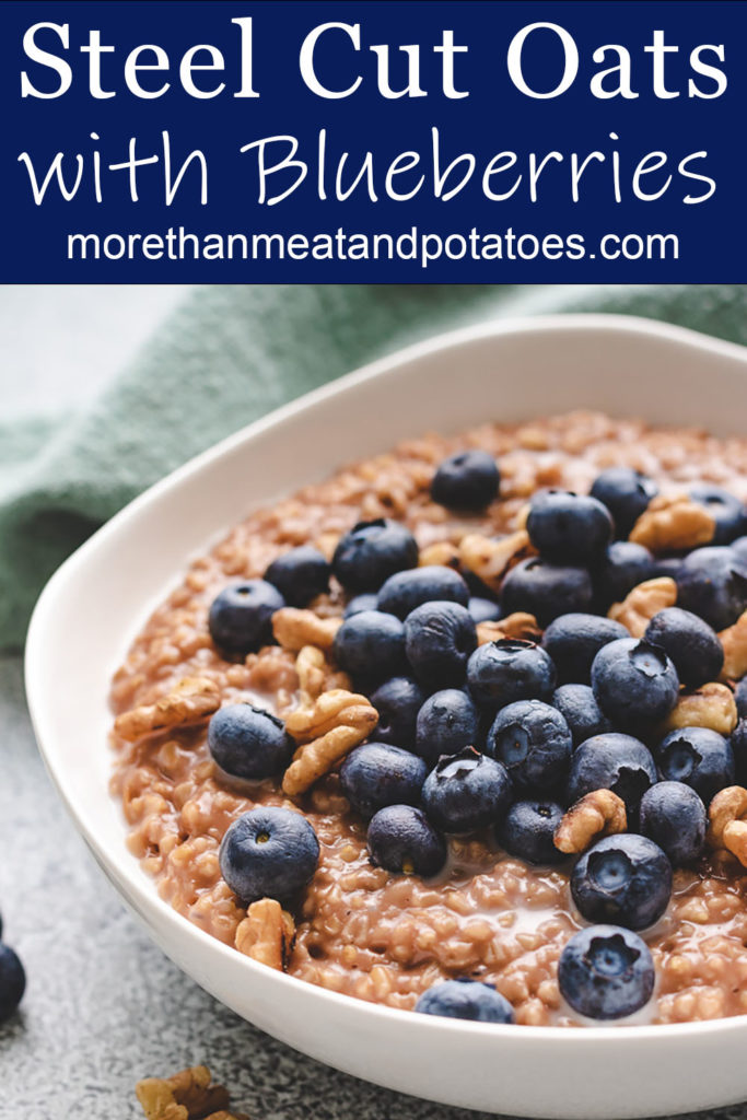 Close up photo of steel cut oats with fresh fruit.