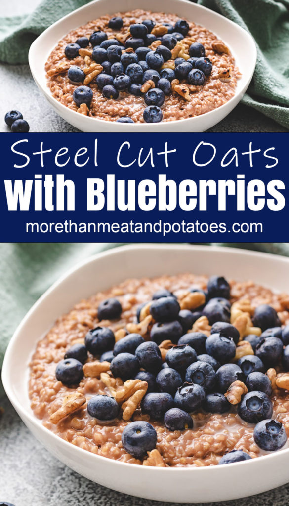 Two photos of steel cut oats topped with blueberries and nut.