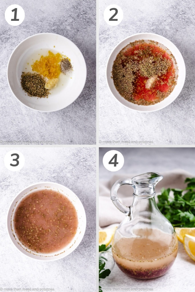 Collage style photo showing how to make greek salad dressing.