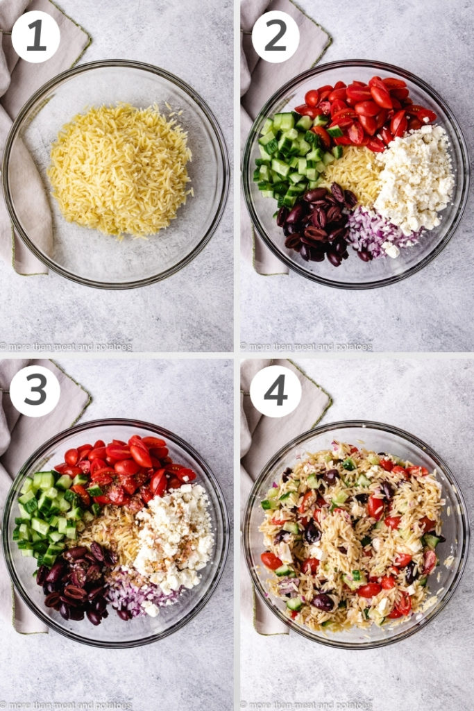 Collage style photo showing how to make greek orzo salad.