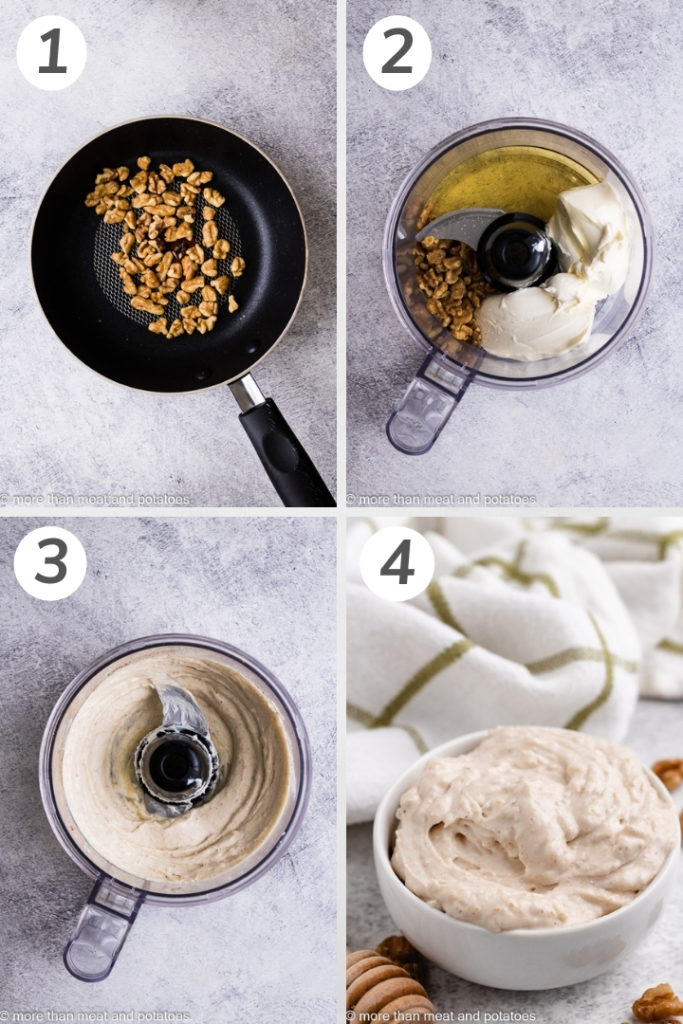 Collage showing how to make honey walnut cream cheese.