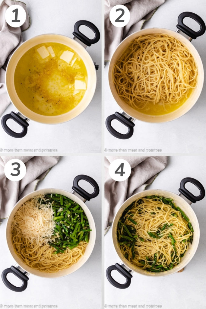 Collage style photo showing how to make lemon linguine.