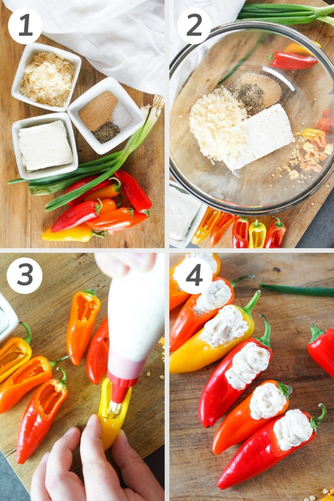 Collage style photo showing how to make mini stuffed peppers.