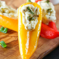 Cooked yellow pepper filled with cream cheese.