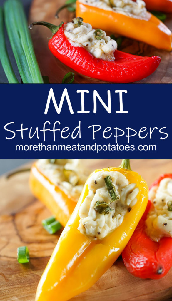 Collage style photo showing peppers stuffed with cream cheese.