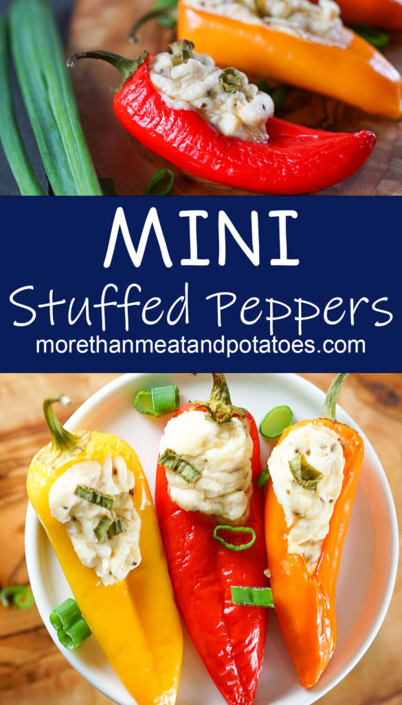 Collage style photo showing several mini stuffed peppers.