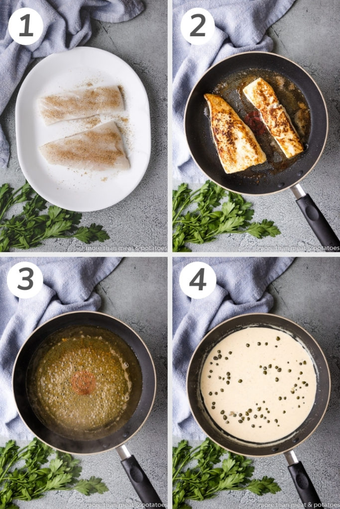 Collage showing how to make pan seared halibut.