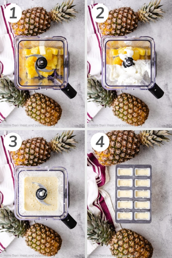 Collage style photo showing how to make pineapple popsicles.