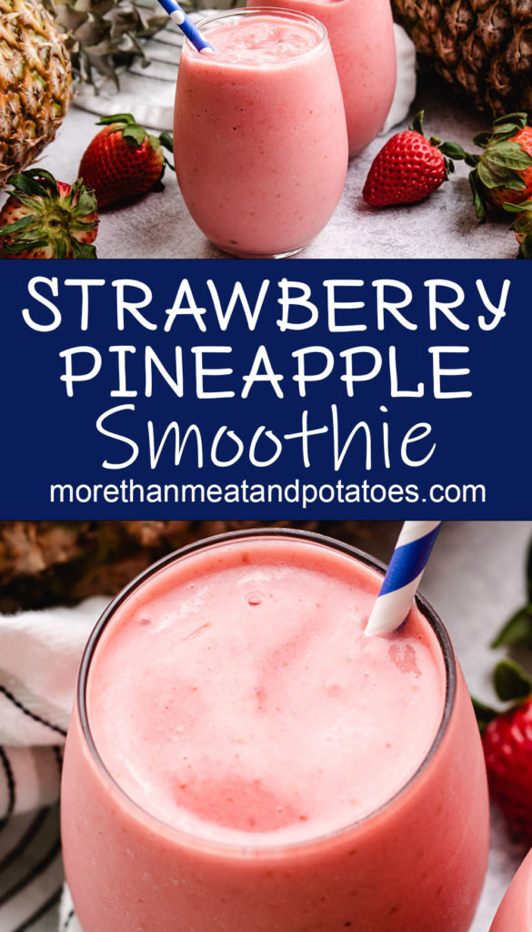 Collage showing two pictures of strawberry pineapple smoothies.