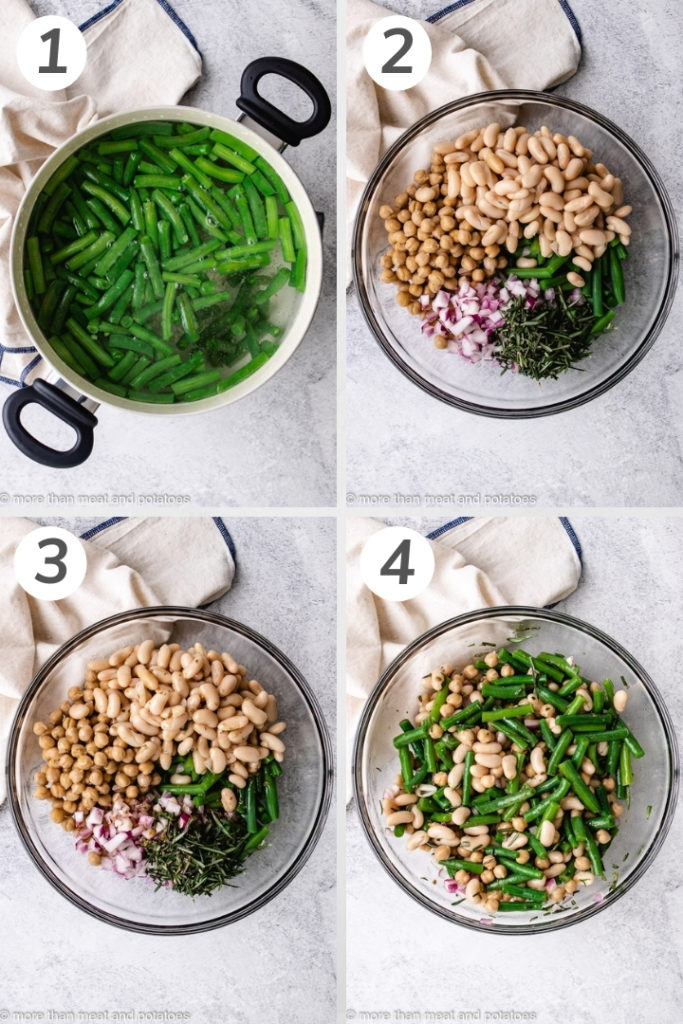 Collage style photo showing how to make three bean salad.