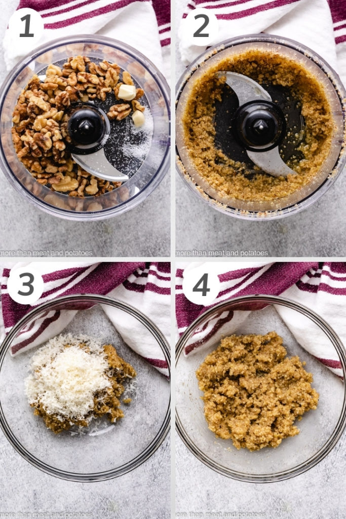 Collage style photo showing how to make walnut pesto.