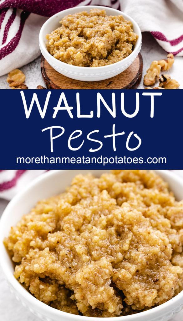 Collage style photo showing walnut pesto.