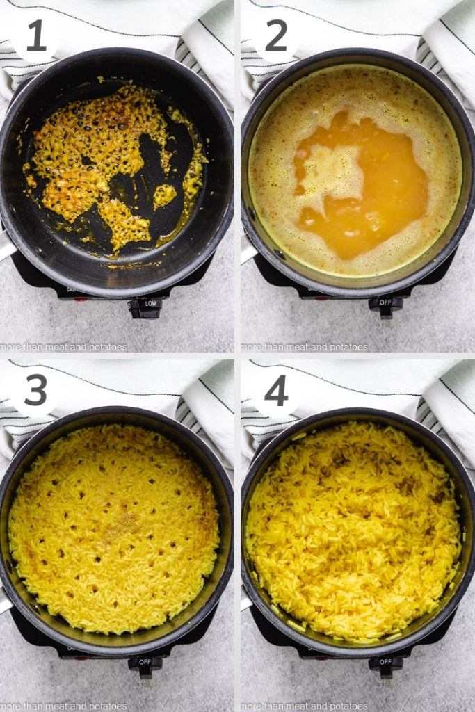 Collage style photo of how to make yellow rice.