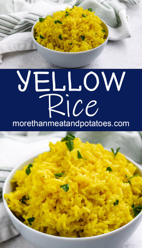 Collage showing how two bowls of yellow rice.