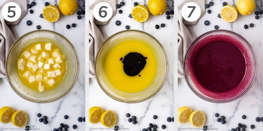 Collage showing how to make blueberry curd.