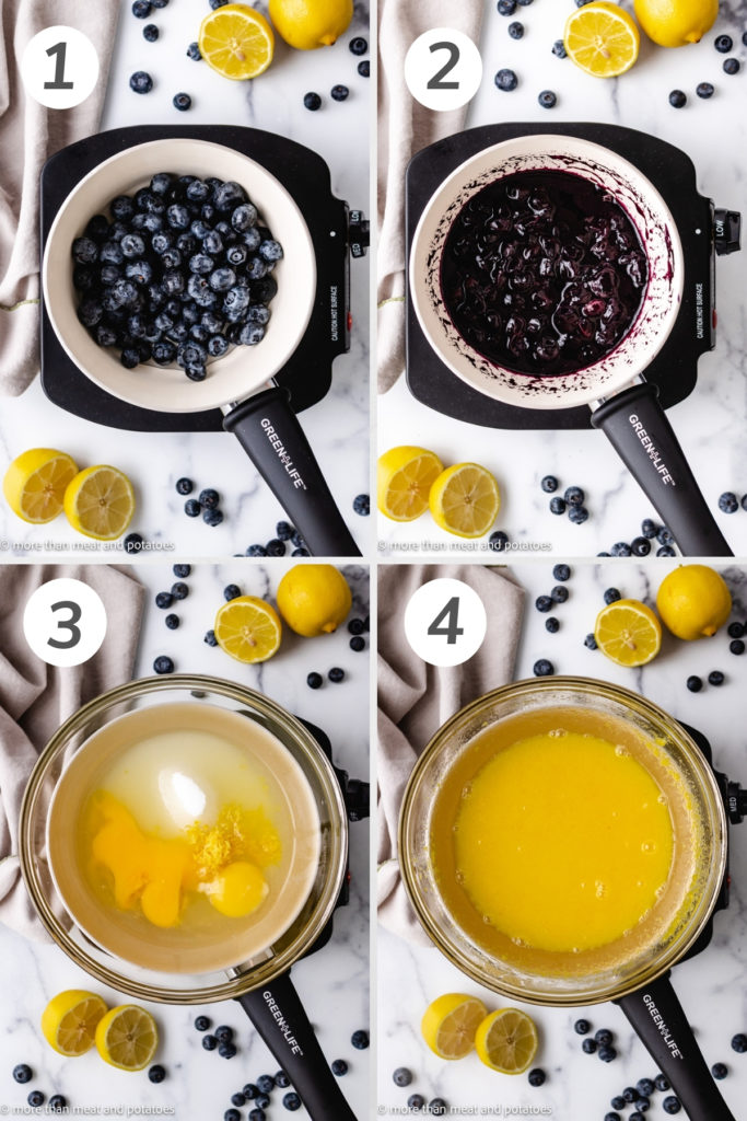Collage showing how to cook down fresh blueberries for curd.