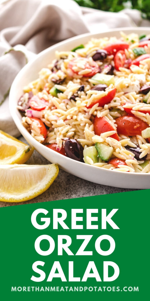 Greek orzo salad in a large serving dish.