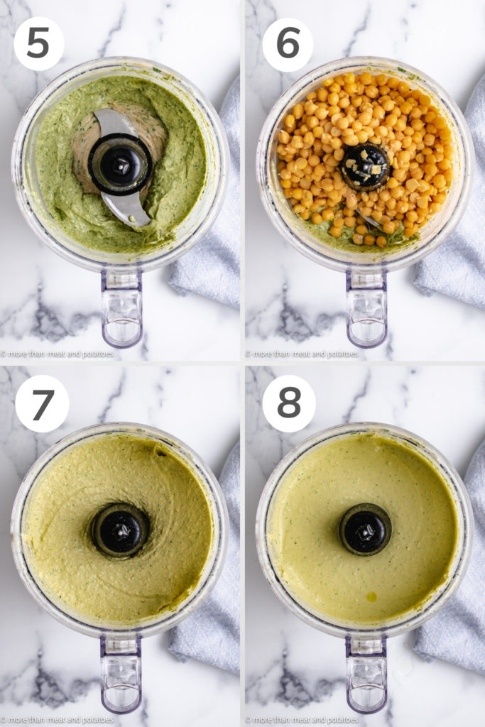 Collage showing how to process hummus in a food processor.