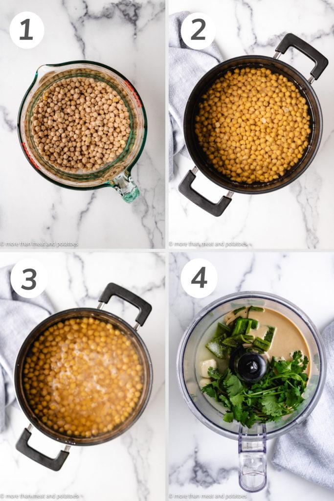 Collage showing how to make jalapeno cilantro hummus.