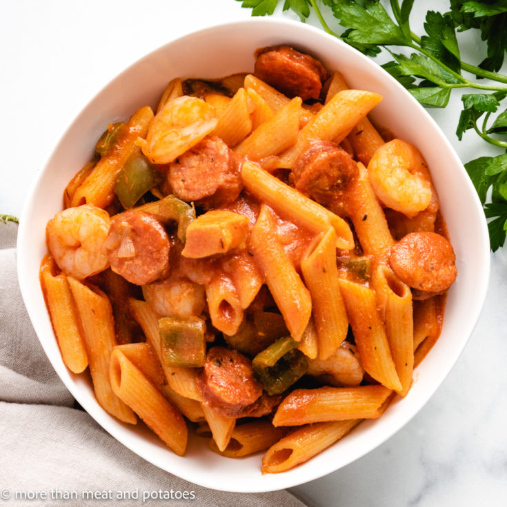 Jambalaya pasta featured image easy one-pot jambalaya pasta