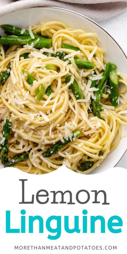 Lemon linguine pasta with asparagus on a white dish.