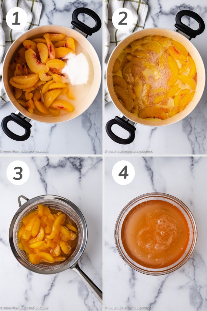 Top down view of how to make peach syrup.