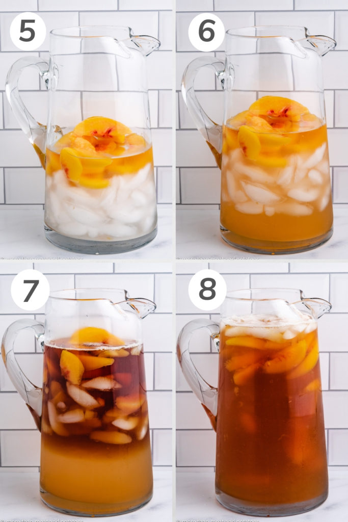 Collage showing how to mix peach tea in a pitcher.