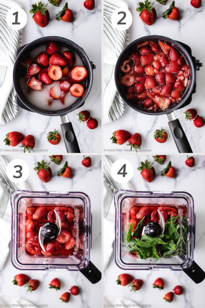 Collage showing how to make strawberry basil syrup.