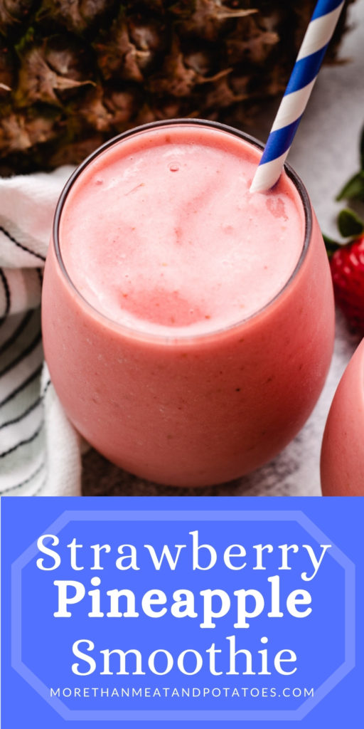 Strawberry Pineapple Smoothie with a striped blue and white straw.