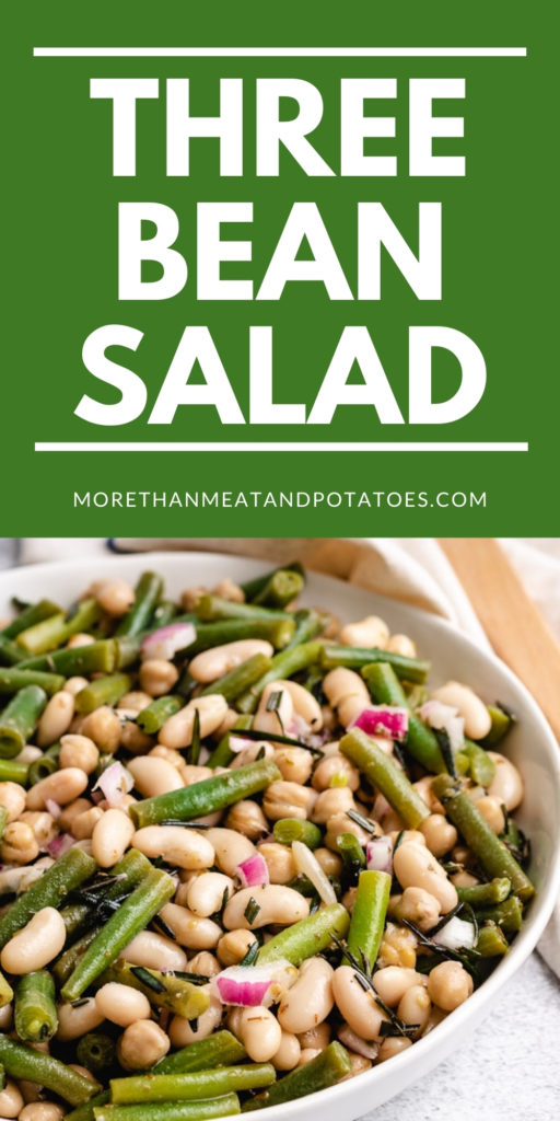 Large serving bowl filled with three bean salad.