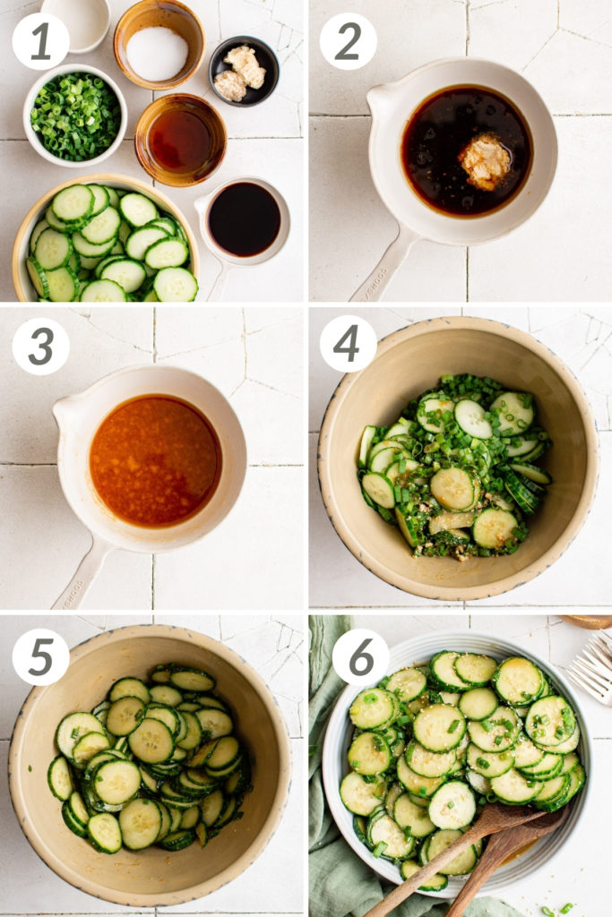Collage showing how to make cucumber salad.