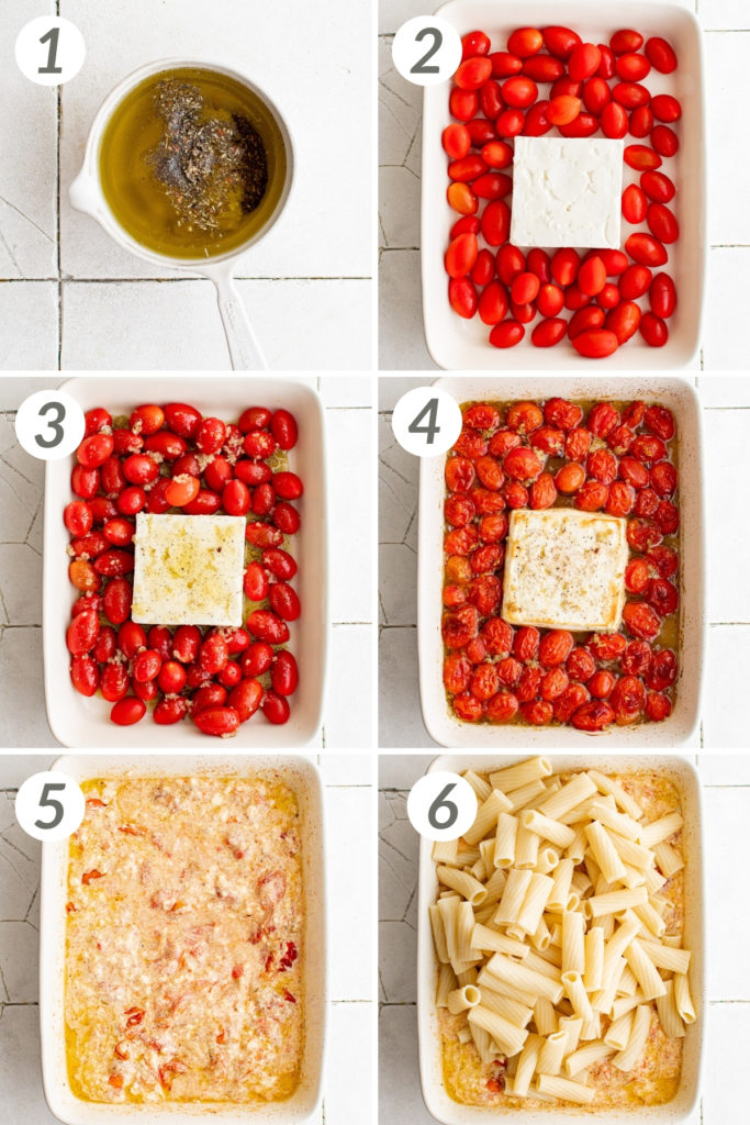 Collage showing how to make feta pasta.
