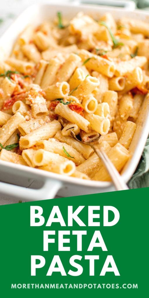 Close up of feta pasta in a white casserole dish.