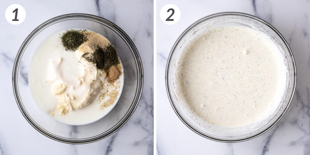 Collage showing how to make ranch dressing.