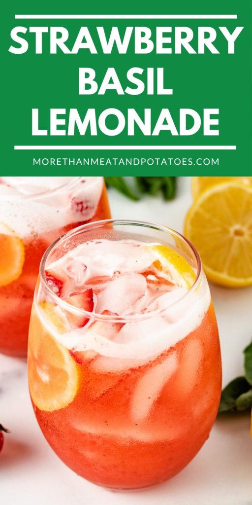 Strawberry basil lemonade in a glass.