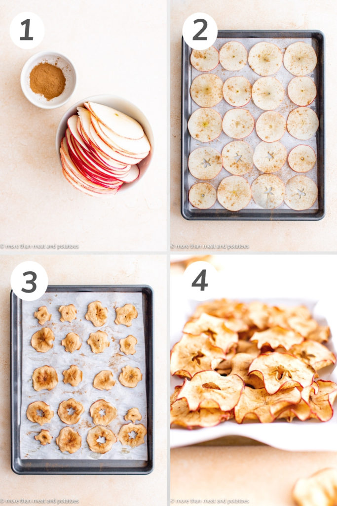 Collage showing how to make apple chips with cinnamon.