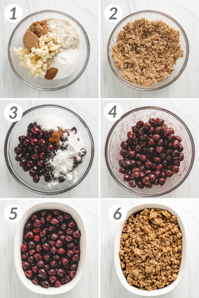 Collage showing how to make a cherry crisp.