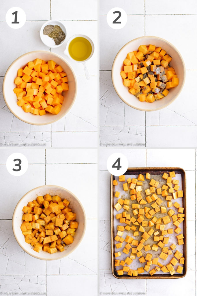Collage showing how to make butternut squash.