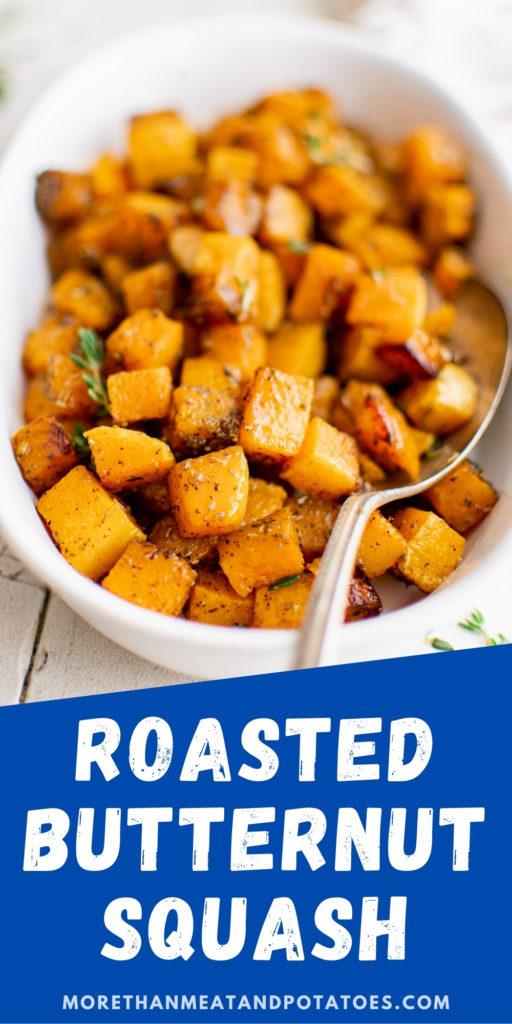 Platter filled with roasted butternut squash and a spoon.