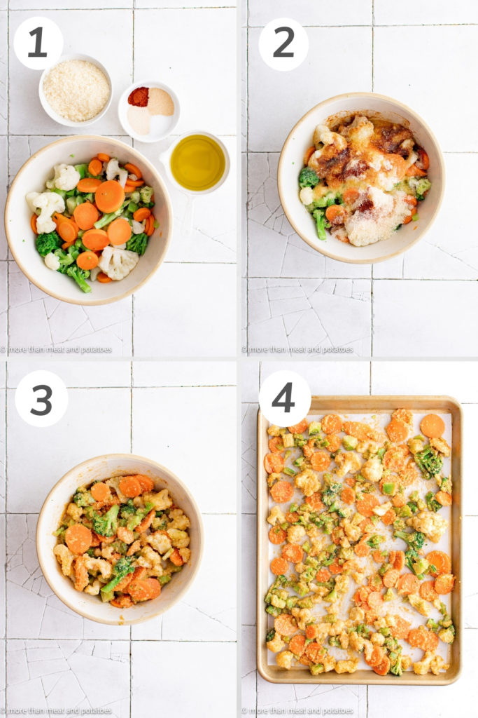 Collage showing how to make roasted frozen vegetables.