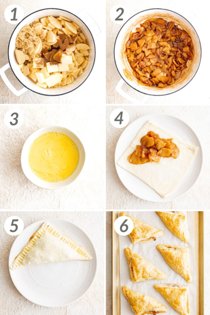 Collage showing how to make apple turnovers.