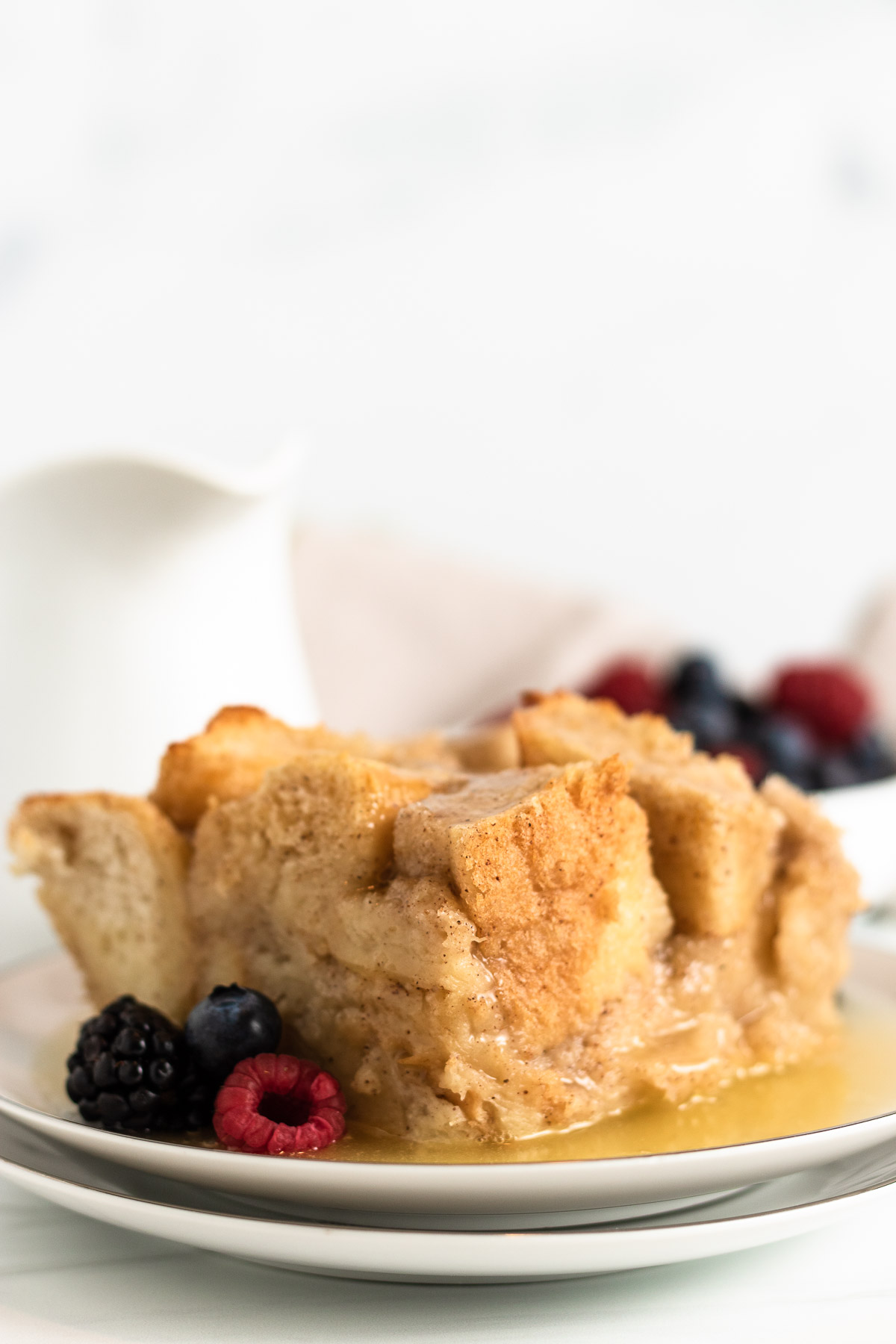 Bread pudding on a plate.