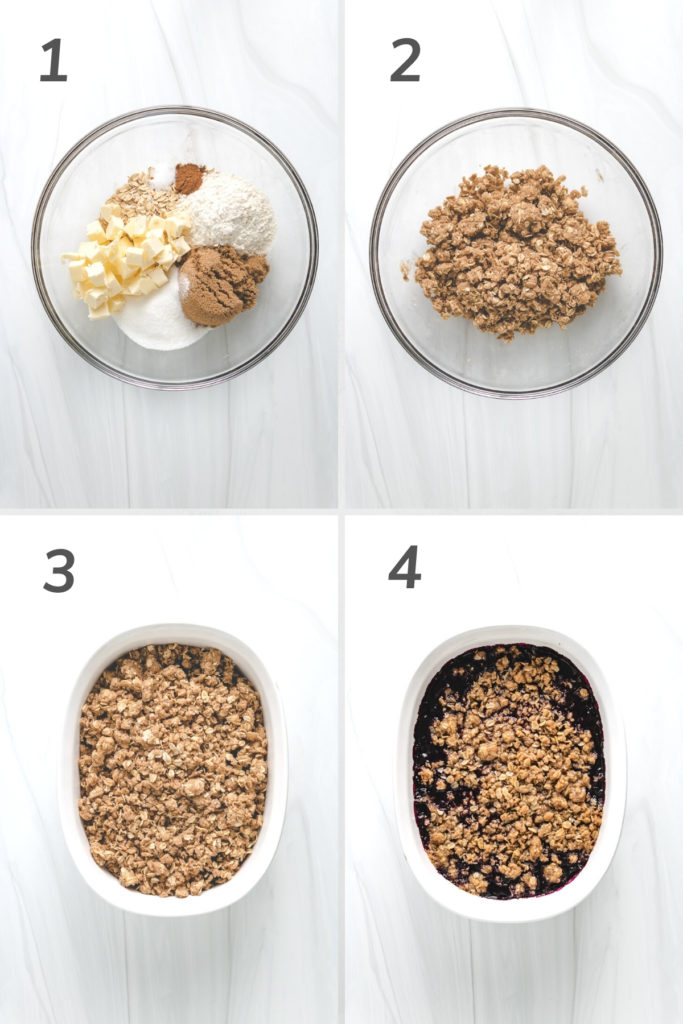 Collage showing how to make crumble topping with oats.