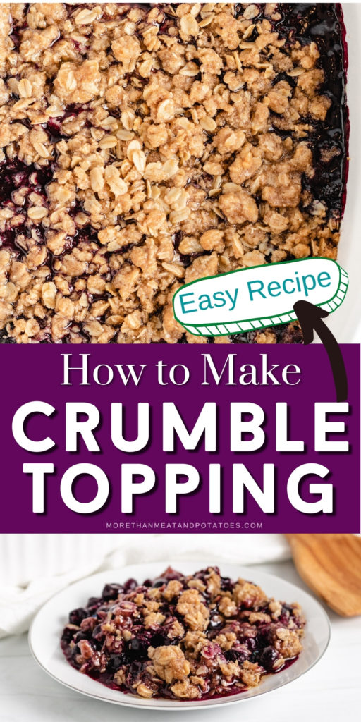 Collage showing two photos of crumble topping with oats.