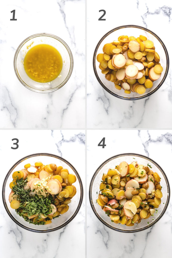 Collage showing how to make french potato salad.