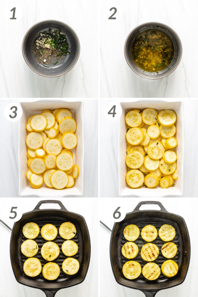 Collage showing how to make grilled yellow squash.