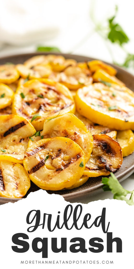Grilled squash on a gray plate.