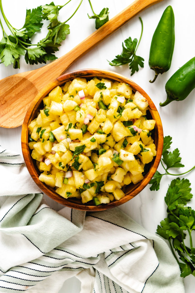 Top down view of pineapple jalapeno salsa.